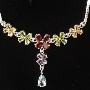 Gem Stone & Silver Flower Necklace